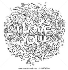I Love You hand lettering and doodles elements Vector illustration - stock vector