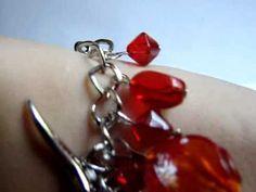 Bratara lantisor argintiu cu margele rosii Murano si acrilice - YouTube