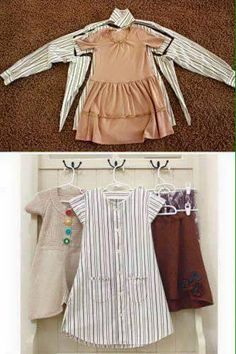 Recycle old clothes, diy clothes, sewing clothes, girls dresses sewing Sewing For Kids, Baby Sewing, Sewing Men, Baby Outfits, Kids Outfits, Diy Fashion, Ideias Fashion, Hijab Fashion, Dress Fashion