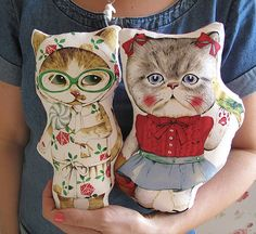 Cute cat plush toy made from Japanese Linen fabric