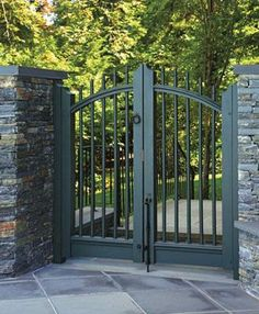 Brentwood Spindle Double Gate from Walpole Outdoors. Browse our large selection of wood, solid cellular PVC and vinyl driveway, estate and walkway gates. Garden Doors, Garden Fencing, Garden Landscaping, Arbor Gate, Fence Gate, Door Gate Design, House Gate Design, Front Gates, Entrance Gates