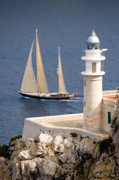 Lighthouse off the coast of Isla Dragonera, on the west end of Majorca Spain.