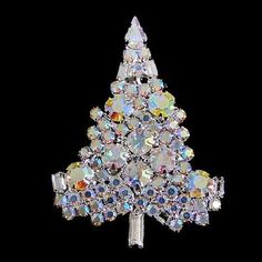 Chic Christmas Tree Brooch Pin Clear AB Swarovski Crystals