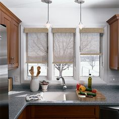 Solar Shades with Fabric Wrapped Cornice: Grenville, White Beige 90203.