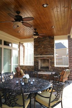Fireplace With Stack Stone Exterior, Tongue U0026 Groove Pine Ceiling, Recessed  Can Lights On A Dimmer Switch Great Ideas