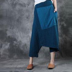 Patchwork Linen Designer Pants     #patchwork #linen #designer #pants #trousers #fashion #blue