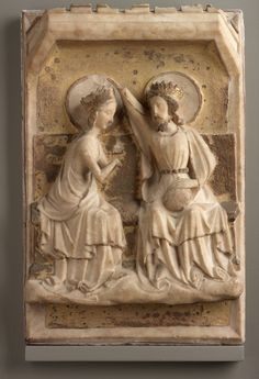 Unknown artist, English:  Coronation of the Virgin  (1400-1420, alabaster and gilding)