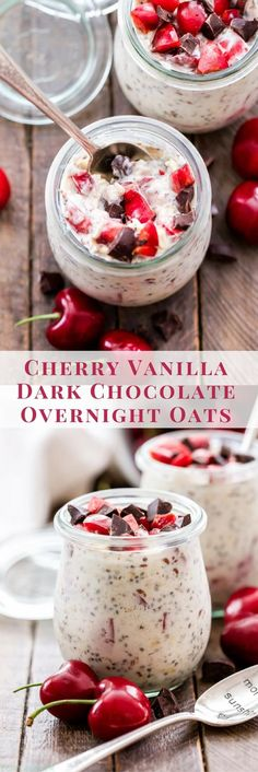 Cold, creamy, overnight oats are perfect for summer. Take advantage of seasonal fresh cherries and make these Cherry Vanilla Dark Chocolate Overnight Oats! A quick and easy breakfast or delicious after dinner snack! (quick and easy recipes for breakfast) Quick And Easy Breakfast, Healthy Breakfast Recipes, Best Breakfast, Brunch Recipes, Breakfast Ideas, Breakfast Smoothies, Healthy Breakfasts, Cherry Recipes Dinner, Cherry Recipes Healthy