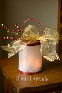 Holiday Mood Light - a clear paint can - 1 sheet of vellum (I used x 11 size) - a battery powered candle light - decorations if you want them Holiday Mood, Holiday Lights, Christmas Lights, Christmas Holidays, Christmas Decorations, Christmas Ornaments, Christmas Things, Merry Christmas, Light Decorations