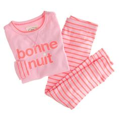 Girls' bonne nuit set-- A solid night's sleep and a French lesson to boot. (Bonne nuit means good night en français.) Cotton. Glow-in-the-dark star on front.