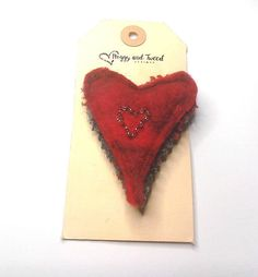 Your place to buy and sell all things handmade Unusual Presents, Felt Brooch, Small Heart, Handmade Felt, Red And Grey, Vintage Fashion, Vintage Style, Wool Felt, Valentine Day Gifts
