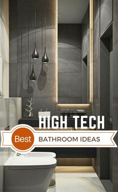 High Tech Interior Design is a modern design trend with focus on cutting-edge technology, straight lines, clear geometric shapes and futuristic furniture. Bathroom Interior Design, Modern Interior Design, Estilo High Tech, Bathroom Trends, Bathroom Ideas, Bathroom Gadgets, Room Ideas Bedroom, Bedroom Furniture, High Tech Gadgets