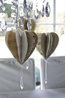 Made from a book, with a dangling jewel. Could make from Christmas cards...?