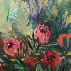 Jenny Parsons Paintings Jenny Parsons,Dusky Proteas, Original Oil On Canvas, Cape Town . Landscape Art, Landscape Paintings, Flower Paintings, Protea Flower, Painting Words, South African Artists, Antique Paint, Cape Town, Illustration Art