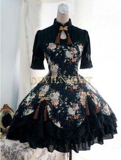 Floral Pattern Short Sleeves #Lolita #Dress
