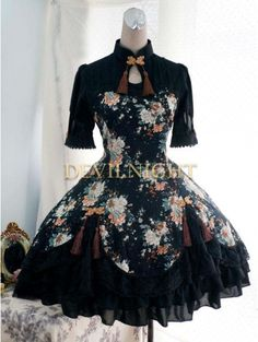 Floral Pattern Black Lolita