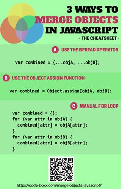 Javascript Tutorial - How to Merge 2 Objects Together in 2020 Programming Websites, Computer Programming Languages, Learning Websites, Javascript Cheat Sheet, Javascript Reference, Learn Computer Coding, Computer Science, Coding Bootcamp, Web Design Quotes