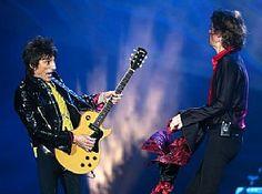 Ron Wood and Mick Jagger of The Rolling Stones perform at TCF Bank Stadium in Minneapolis June 3. (Jeff Wheeler/Star Tribune via AP) #RonWood #MicJagger #TheRollingStones