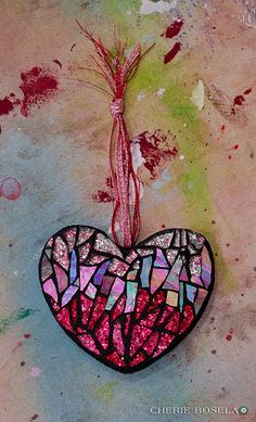Heart Ornaments of 2011 - Cherie Bosela - Fine Art Mosaics & Photography - Mosaic Pots, Mosaic Diy, Mosaic Crafts, Mosaic Projects, Mosaic Glass, Mosaic Tiles, Fused Glass, Stained Glass, Glass Art Pictures