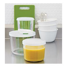 3-Piece Tall Glass Storage Container Set in Food Storage | Crate and Barrel