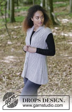 Morgan's Daughter Vest / DROPS 179-13 - Knitted vest with shawl collar, cables and A-shape, worked top down. Sizes S - XXXL. The piece is worked in DROPS Flora.