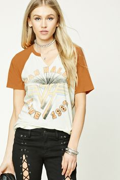 """A cotton band tee featuring a """"Van Halen Live 1982"""" graphic on the front, raw-cut V-neckline, contrast short raglan sleeves, and a curved hem."""