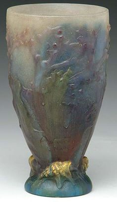 Click image above to view this item in the Prices4Antiques reference database.  Pate de Verre Glass; Almeric Walter, Vase, Snails & Floral, 8 inch.