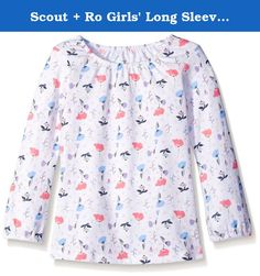 Scout + Ro Girls' Long Sleeve Printed Shirred Neck Top, White, 7. This Scout + Ro long-sleeve knit top in allover floral pattern features a shirred neckline.