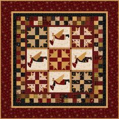 """= free pattern = Angels Among Us, 68 x 68"""", by The Buggy Barn for Henry Glass Fabrics.  Includes angel applique template."""