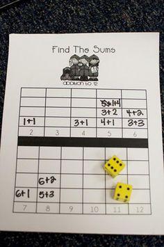 """zoooooo makkelijk, dat ik er zelf niet opkwam """"math find the sums game"""", """"number sense - might be a great center activity for grade math! Math Classroom, Kindergarten Math, Teaching Math, Math Resources, Math Activities, Therapy Activities, Math Addition, Addition Games, Teaching Addition"""