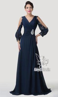 uzun abiye elbise lacivert kol dekolteli harika bir model,abiye elbise,uzun abiye,online abiye,ucuz abiye,mezuniyet elbi