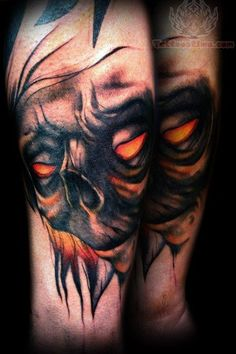 Demon Face Scary Tattoo