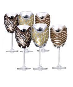 Wildlife Wine Glass Cozy 6-Piece Set