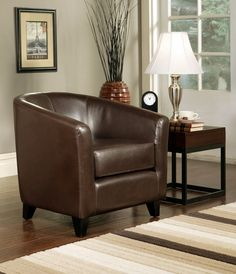 Abbyson Living Montecito Dark Brown Leather Arm Chair The Frankfurt Leather Armchair is crafted of luxurious leather that offers long-time usage and elegant style Curved and rounded edges add modern appeal, and the extremely comfortable cushions provide the perfect balance between firm support and softness Elegant and strong stitched panel design Constructed of solid wood construction