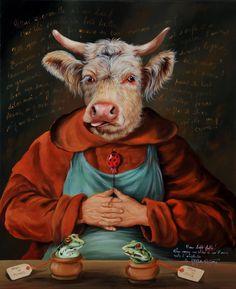 о Dog Artwork, Animal Society, Cow Painting, Animal Jam, Cow Art, Animal Heads, Animal Fashion, Cool Pets, Whimsical Art