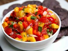 If you've never made your own salsa, it couldn't be easier — just dice up everything, stir it in a bowl, and allow the flavors to mix and mingle in the fridge.   Calories: 68 per serving  Fiber: 2.7 grams  Protein: 1.2 grams