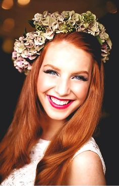 Bride's side part long down bridal hair ideas Toni Kami Wedding Hairstyles ♥ ❶ Flower crown corona halo ginger