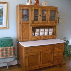 A Hoosier cabinet (also known as a & is a type of cupboard popular in the first decades of the century. Named after the Hoosier Manufacturing Co. of New Castle, Indiana, they were also made by several other companies, most also located in Indiana. Antique Furniture, Painted Furniture, Geek Furniture, Dream Furniture, Furniture Websites, Country Furniture, Funky Furniture, Pallet Furniture, Furniture Ideas