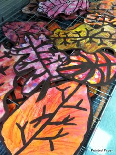 PAINTED PAPER: Fall Leaves at Lake George (Georgia O'Keefe inspired)