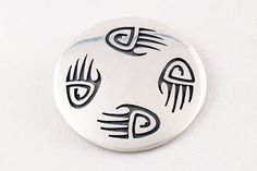 Hopi Overlay Sterling Silver Bear Paw Pin and Pendant by Floyd Lomakuyvaya