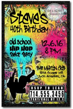 90s Hip Hop Graffiti Birthday Invitations 80s Parties Party Ideas