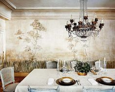 Modern Dining Room with Painting Tree Murals
