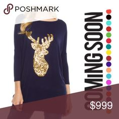 """NEW Deer Sequin Tunic Top S,M,L,XL 3/4 Sleeve Navy Gold reindeer print tunic top a must have for this fall season! 30"""" long. Sequined appliqué. Machine wash separate 95% rayon 5% spandex. Bundle and save! ✅ Yes I Like Offers ✅ Bundle Discounts 🎁 Free Gift $35 orders pre-shipping ❌ Trades Boutique Tops Tunics"""