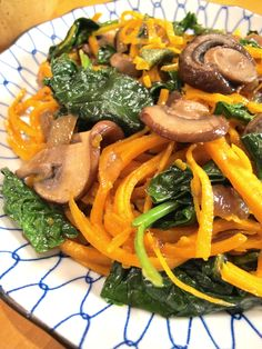 butternut squash noodles with spinach and mushrooms- used sweet potato noodles. this was delicious. use a ton of sage and added bbq' chicken on top