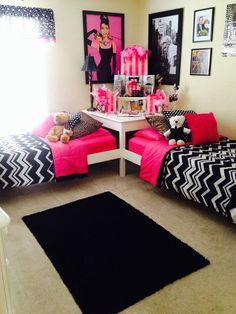 Ideas for teen twins' bedroom, girls room.
