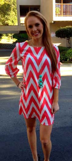 #ad I love this outfit! Everything from the coral and white chevron print to the turquoise bubble drop necklace! Such a cute & stylish look for Spring!