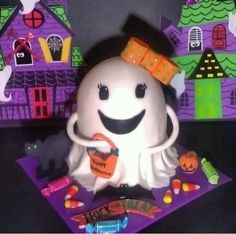 Friendly ghost cake