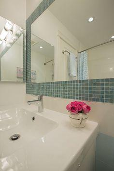 #bathroom #mirror #white #blue #glass #StainlessSteel #tile #sink #interiordesign #hillcrestdesign http://www.hillcrestdesign.ca