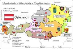 9_Bundesländer-Österreich-Austria-L. Geography Lessons, Innsbruck, Capital City, Diy For Kids, Kindergarten, Germany, Worksheets, Education, Travel