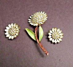Rare BSK Vintage Gold-Tone Crystal Rhinestones Enamel Flower Brooch Earrings Set #BSK